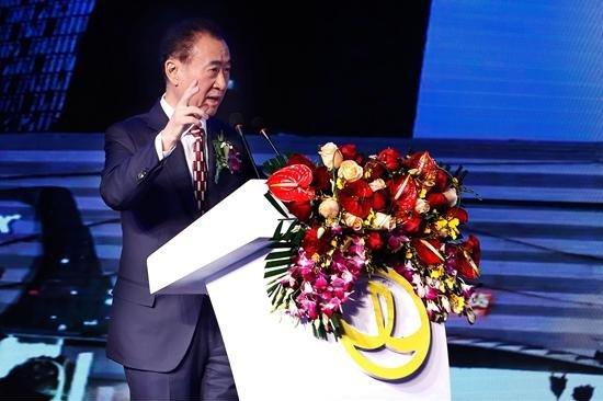 Wanda Group chairman Wang Jianlin announces the $3.5 billion purchase of Legendary Entertainment Tuesday in Beijing. Photo from Wanda Group.