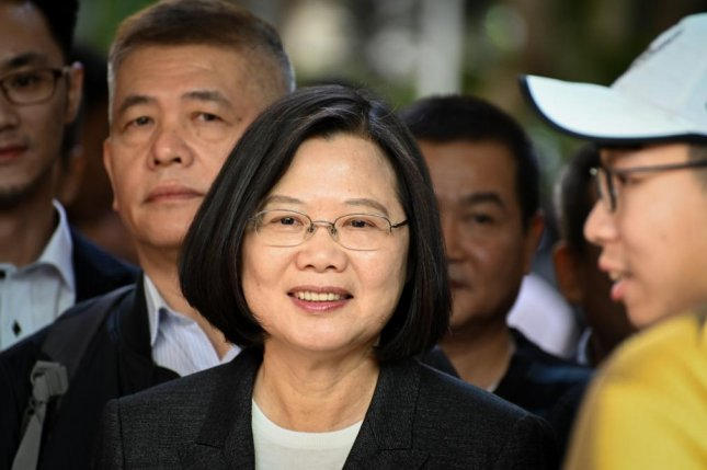 President Tsai Ing-wen arrives at a polling station on Saturday morning to vote in Taiwan's general elections. Tsai won a second term with a landslide victory over challenger Han Kuo-yu. Photo by Thomas Maresca/UPI