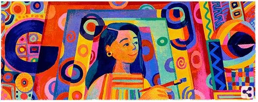 Google celebrated the life and work of Philippine artist Pacita Abad with a colorful new Doodle on Friday. Image courtesy of Google