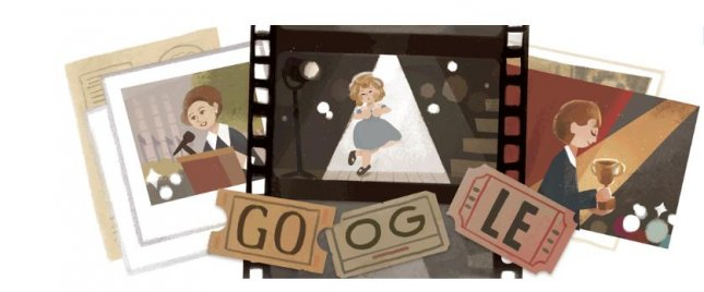 Google is paying homage to actress, singer and diplomat Shirley Temple with a new Doodle. Image courtesy of Google