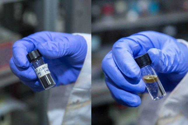 Scientists discovered a new delafossite-based catalyst, seen on the left, that can be used to convert CO2 and H2 into liquid diesel fuel, seen on the right. Photo by UNIST