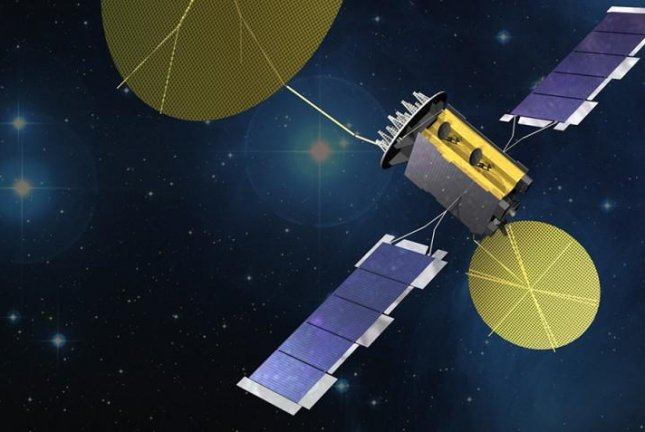 An artist's rendering of a U.S. Navy Mobile User Objective System satellite in space. Military officials announced Tuesday that responsibility for narrowband satellite communication programs will be transferred from the Navy to the Air Force. File Photo courtesy of Lockheed Martin