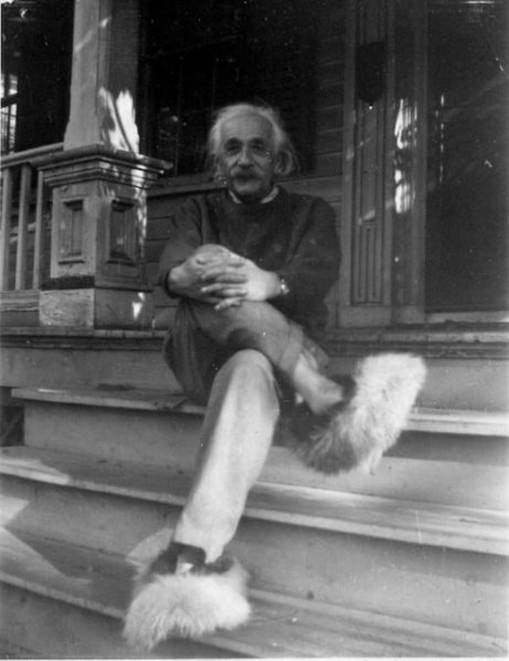 here s a photo of albert einstein in furry slippers upi com