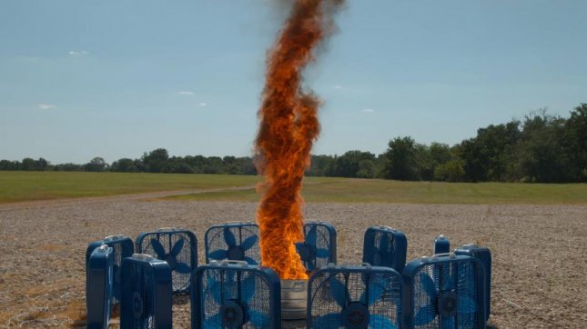 An artificially-created fire tornado filmed in super slow motion. The Slow Mo Guys/YouTube video screenshot