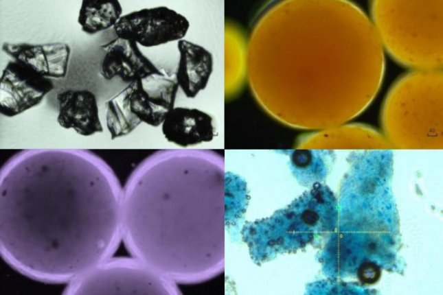 Photographs captured using a microscope show different types of microplastic particles found in cosmetic products. Photo by Xiaoguang Duan/Matter