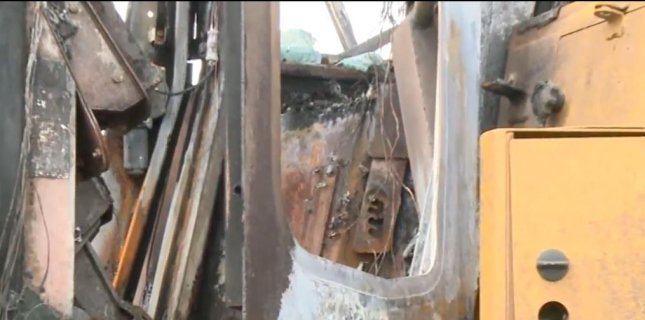 Construction equipment was damaged in a fire at a Dakota Access pipeline construction site in Reasnor, Iowa. A preliminary investigation pointed to arson as the cause. Screenshot from KDSM-TV, Des Moines, Iowa