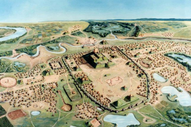 The prehistoric North American city of Cahokia experienced its population peak around 1100 AD. By 1200, the city's population was beginning to decline. Photo by William R. Iseminger/University of Wisconsin
