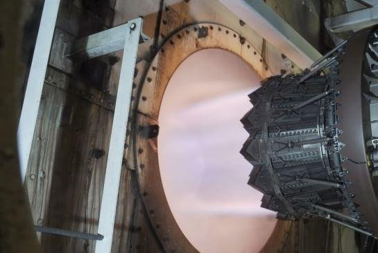 A Pratt and Whitney F135-PW-100 engine, used on the F-35 Lightning II fighter plane, undergoes testing. Photo courtesy of Pratt and Whitney Military Engines/United Technologies Inc.