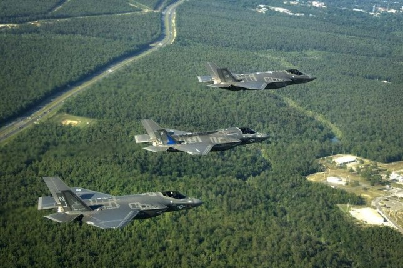 F-35 Lightning II aircraft over Florida. U.S. Air Force photo by Staff Sgt. Katerina Slivinske