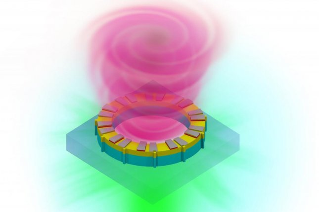 A new vortex laser beam promises to transmit 10 times as much data as conventional linear lasers. Photo by University at Buffalo