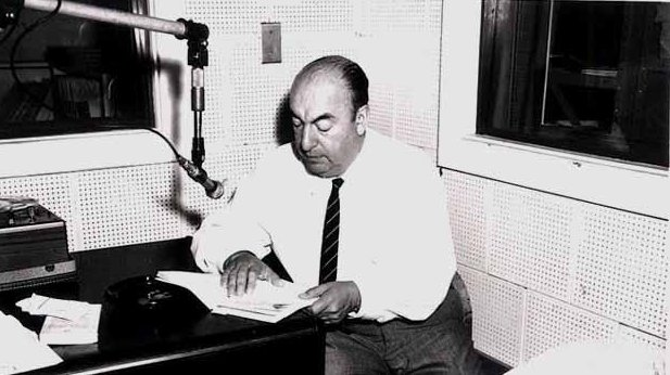 Pablo Neruda during a Library of Congress recording session, 20 June 1966 (Library of Congress)