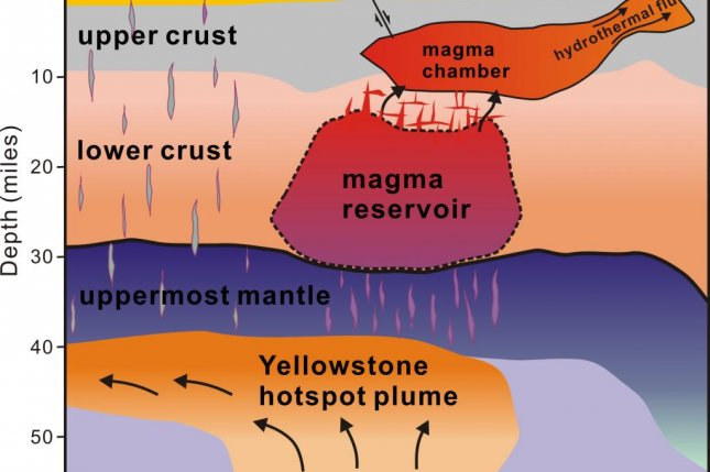 A map of newly discovered magma reservoir. Photo by the University of Utah