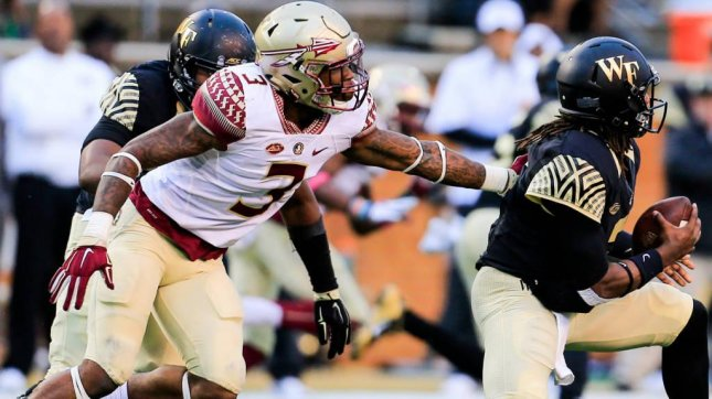 Florida State defensive back Derwin James (3) is out for the season with a knee injury. Photo courtesy Florida State Athletics