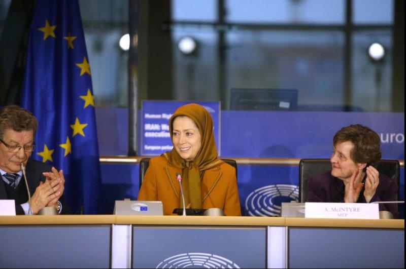 Iranian opposition leader Maryam Rajavi addresses a meeting at the European Parliament in 2017. Photo courtesy of - Maryam Rajavi