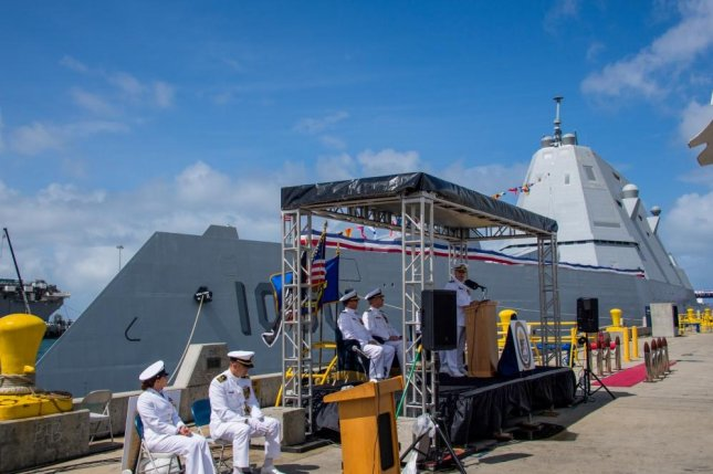 Capt. Scott Carroll, commander of Zumwalt Squadron ONE, delivers remarks during the establishment ceremony of Surface Development Squadron ONE on Wednesday in San Diego.  Photo by Mass Communication Spec. 1st Class Woody S. Paschall/U.S. Navy