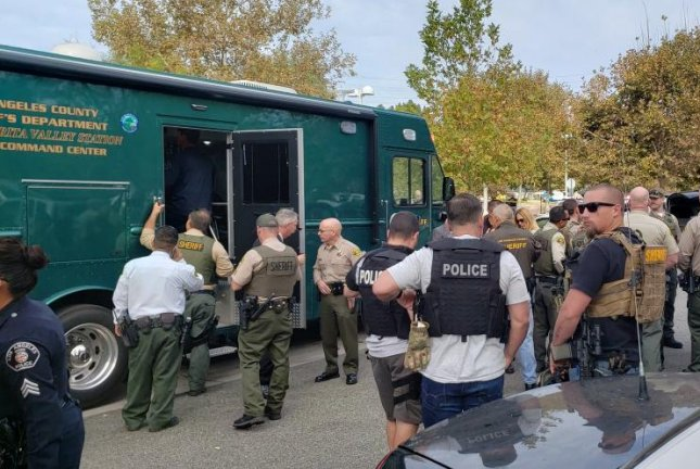 Authorities gather near a high school in Santa Clarita, Calif., Thursday after at least six people were shot. Photo courtesy Los Angeles Sheriff's Department/Twitter