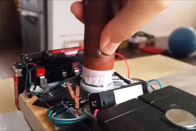 Allen Pan's real version of Marvel hero Thor's hammer uses a powerful electromagnet and thumbprint scanning technology to determine who is worthy enough to lift it. Sufficiently Advanced/YouTube video screenshot