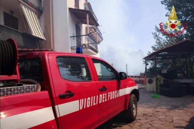 Italy's Vigili del Fuoco fire and rescue service on Thursday said it is involved in 849 operations nationwide, of which 482 are wildfire operations. On Wednesday, about 700 tourists threatened by wildfires were rescued by boats from a beach resort in Sicily. Photo courtesy of Vigili del Fuoco