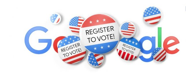 Google is helping users get to the polls in November with a voter registration-themed Doodle. Image courtesy of Google