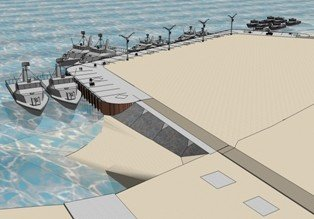 Artist rendition of the future Umm Qasr pier and seawall, to be constructed by a contract signed between the Iraqi Navy and U.S. Army Corps of Engineers. Source: U.S. Army Corps of Engineers.