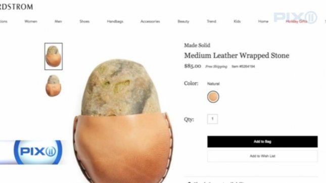 This leather-wrapped rock costs $85, for some reason. Screenshot: WPIX-TV