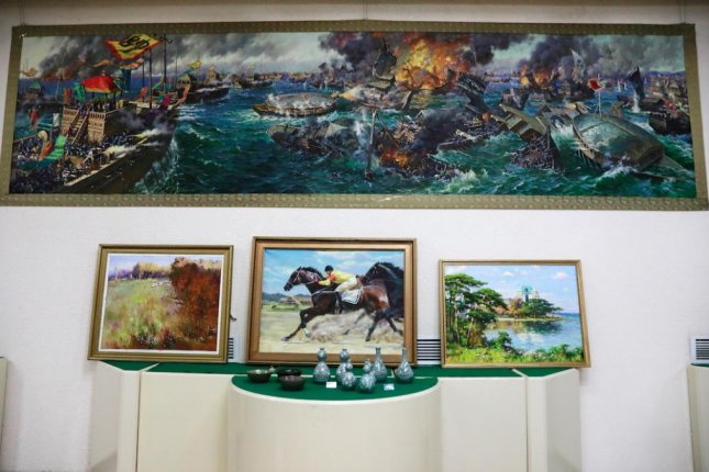 North Korea art from Pyongyang's Mansudae Art Studo is on exhibit in the United Arab Emirates, according to a recent report. File Photo by How Hwee Young/EPA
