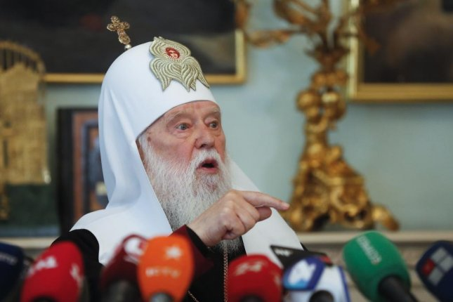 Patriarch of the Orthodox Church of Ukraine Filaret, seen here in Ukraine on May 15, 2019, said in March the pandemic was divine punishment for the sinfulness of humanity. File Photo by Sergey Dolzhenko/EPA-EFE