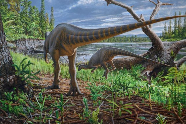 An artistic rendering of Diluvicursor pickeringi shows a pair of the turkey-sized dinosaurs foraging on the bank of an ancient river roaring through the Australian-Antarctic rift valley. Painting by Peter Trusler