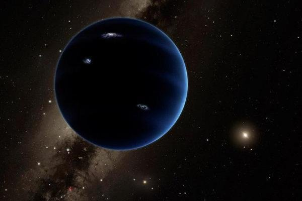 An artistic rendering of Planet 9, a planet astronomers have not seen but only inferred based on anomalies found in the orbits of distant Kuiper Belt Objects. Photo by Caltech