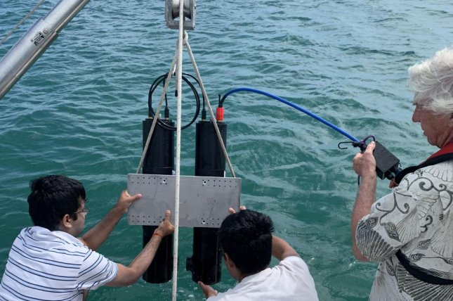 Researchers with Florida Atlantic University lower a 3D holographic camera into the water to test how it detects algae and other particles. Photo courtesy of  Harbor Branch Oceanographic Institute