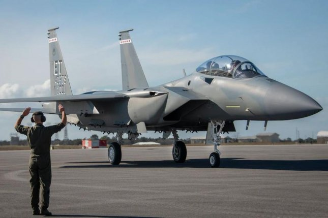 The F-15EX fighter plane, the newest addition to the U.S. Air Force fleet, was renamed the Eagle II in a ceremony at Eglin Air Force Base, Fla., on Wednesday. Photo by Samuel King/U.S. Air Force