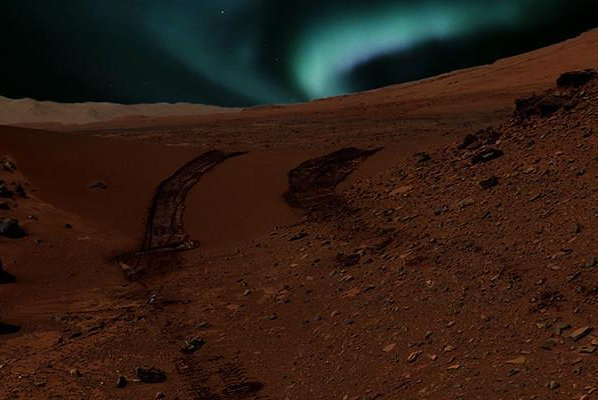 An illustration shows what a Martian aurora might look like. Photo by NASA/JPL