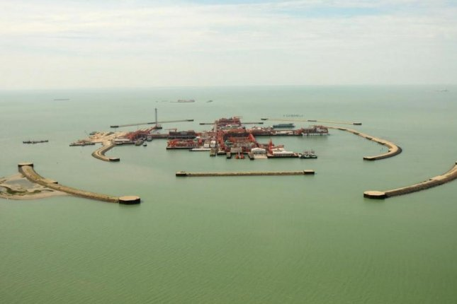 Crude oil from the giant Kashagan oil field off the coast of Kazakhstan has been processed and is ready for exports. Photo provided to UPI by the North Caspian Operating Company from its library.