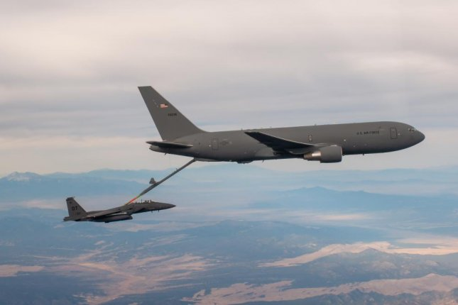 An F-15E from the 422nd Test and Evaluation Squadron refuels from a KC-46 over the Nevada Test and Training Range in November. Photo by Savanah Bray/U.S. Air Force