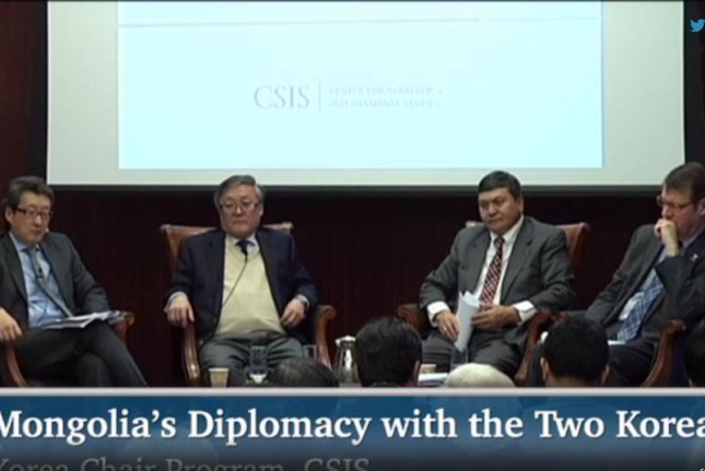 CSIS Senior Adviser and Korea Chair Victor Cha, Mongolian Ambassador to the United States Bulgaa Altangerel, Mongolian Ministry of Foreign Affairs Director General of the Department of Policy Planning and Policy Analysis Tsedendamba Batbayar, and Korea Society President and former U.S. Ambassador to Mongolia Mark C. Minton at a forum examining Mongolia's Diplomacy with the Two Koreas at CSIS on Dec. 3, 2014, in Washington, D.C. Twitter/CSIS