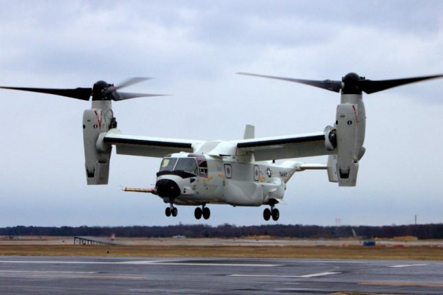 A variant of the tiltrotor Osprey military aircraft, the CMV-22B, completed its trial flight on Friday and was delivered to the U.S. Navy on Monday. Photo courtesy of U.S. Navy