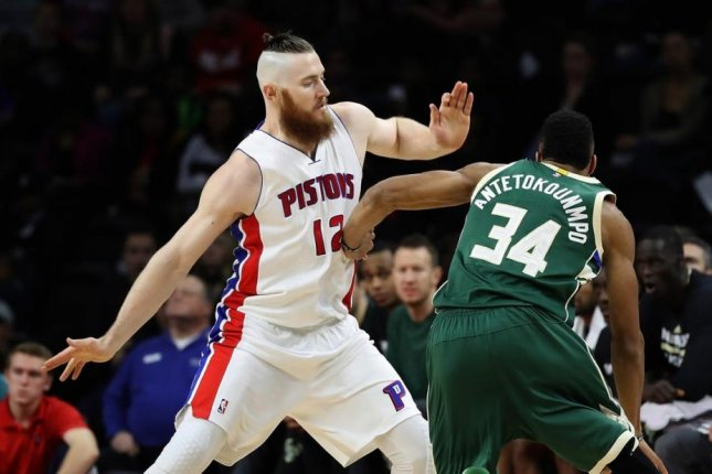 The 6-foot-10, 260-pound Aron Baynes averaged 4.9 points, 4.4 rebounds and 15.5 minutes per game last season with the Detroit Pistons. Photo courtesy of Detroit Pistons/Twitter