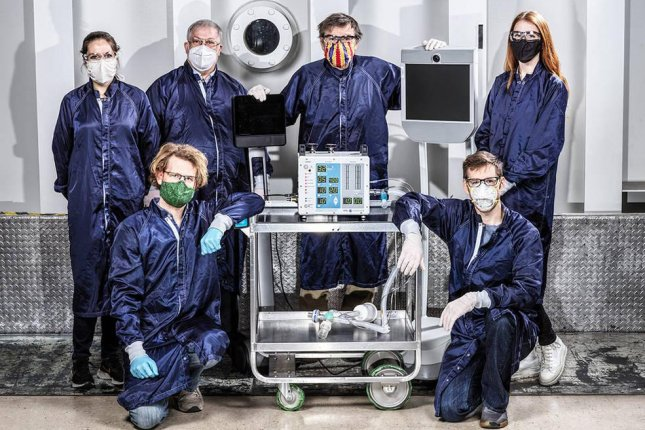 The VITAL machine, which stands for Ventilator Intervention Technology Accessible Locally, uses fewer parts and is flexible enough to be modified for use in field hospitals. Photo courtesy NASA/JPL-Caltech/UPI