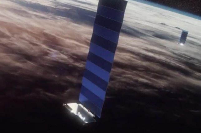 Starlink satellites, shown in this image from SpaceX, sometimes reflect sunlight that interferes with astronomical observations on Earth. File photo by SpaceX