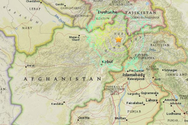 A powerful 7.5 magnitude earthquake struck northeastern Afghanistan on Monday, killing at least 300 people and generating tremors throughout Asia. Image courtesy of U.S. Geological Survey