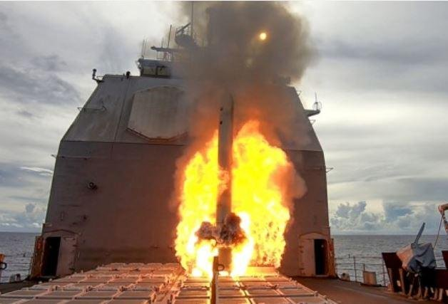 A Tomahawk cruise missile was fired from the USS Antietam on Sunday in the Pacific Ocean, part of the Valiant Shield 2020 exercise. Photo courtesy of U.S. Pacific Fleet