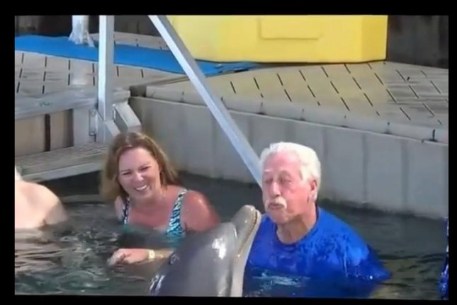 Man vs. dolphin in epic water-spitting war