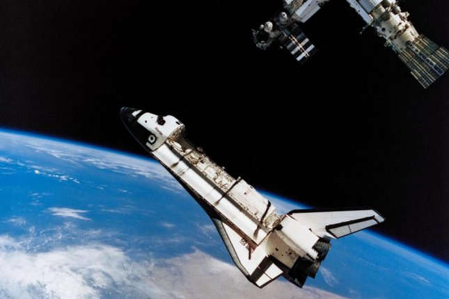 This view of the space shuttle Atlantis during its move away from Russia's Mir Space Station was photographed by the Mir-19 crew on July 4, 1995. Photo courtesy of NASA
