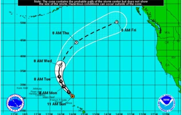 Lester was downgraded from a hurricane to a tropical storm as it moved away from the Hawaiian islands. Image courtesy of National Oceanic and Atmospheric Administration