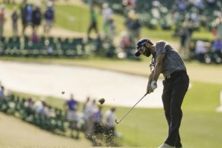 Adam Hadwin of Canada hits the golf ball. Hadwin is one of the frontrunners in the Valero Texas Open. (Twitter/Sportsnet)