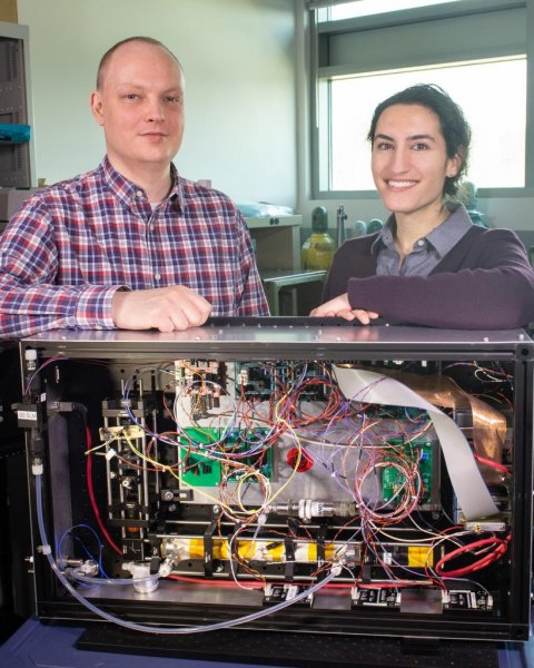 Researchers Andrew Swanson and Reem Hannun, pictured here, helped NASA scientist Tom Hanisco build a device intended to measure hydroxyl. Turns out, it was much better at tracking ozone levels. Photo by NASA/W. Hrybyk