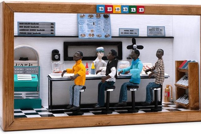 Google displayed this new Doodle Saturday honoring the Greensboro sit-in 60 years ago. Image courtesy of Google.