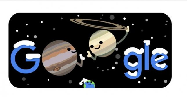 Google is celebrating the overlapping of Jupiter and Saturn known as the Great Conjunction, with a new Doodle. Image courtesy of Google.