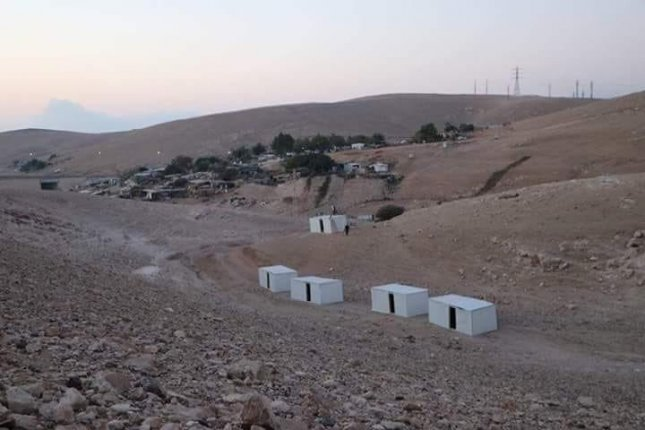 Israel destroyed five trailers set up near the West Bank Bedouin village of Khan al-Amar on Thursday, as the European Parliament voted to approve a resolution warning the government not to raze the village. Photo by COGAT/Twitter