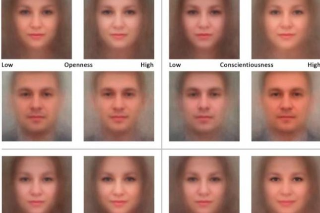 Using the findings of the artificial intelligence systems, researchers created model faces demonstrating the links between facial features and personality traits. Photo by Alexander Kachur, et. al/Scientific Reports